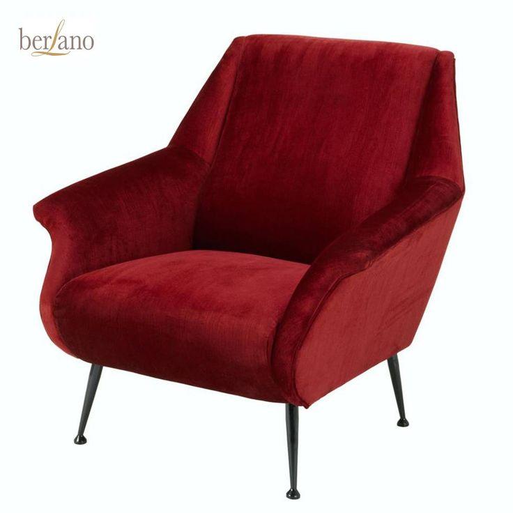 Donkerrode fauteuil fluweel stof velvet Eichholtz CHAIR TREZZO  fauteuil Essex red