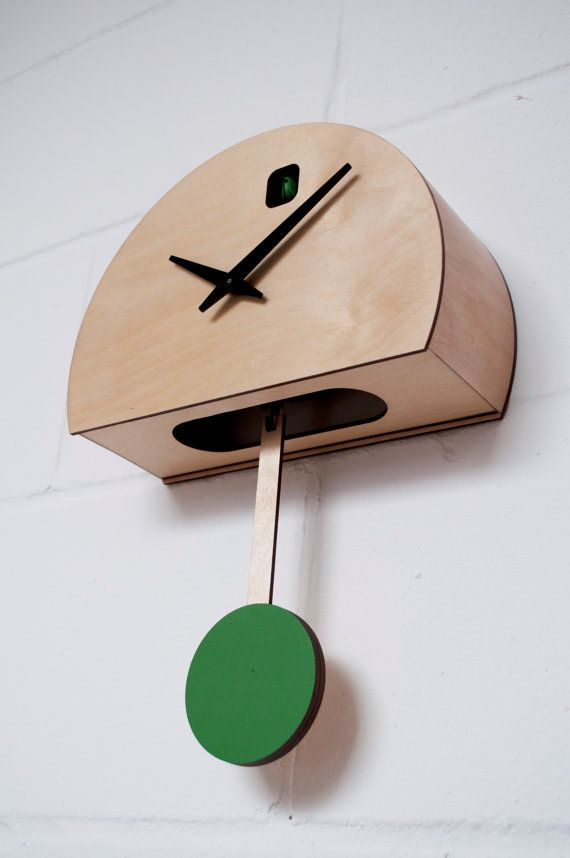 Gibbous Green  Modern Cuckoo clock by pedromealha on Etsy, £130.00