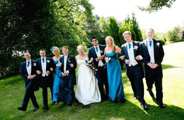 lovely combination of teal bridesmaid dresses matching