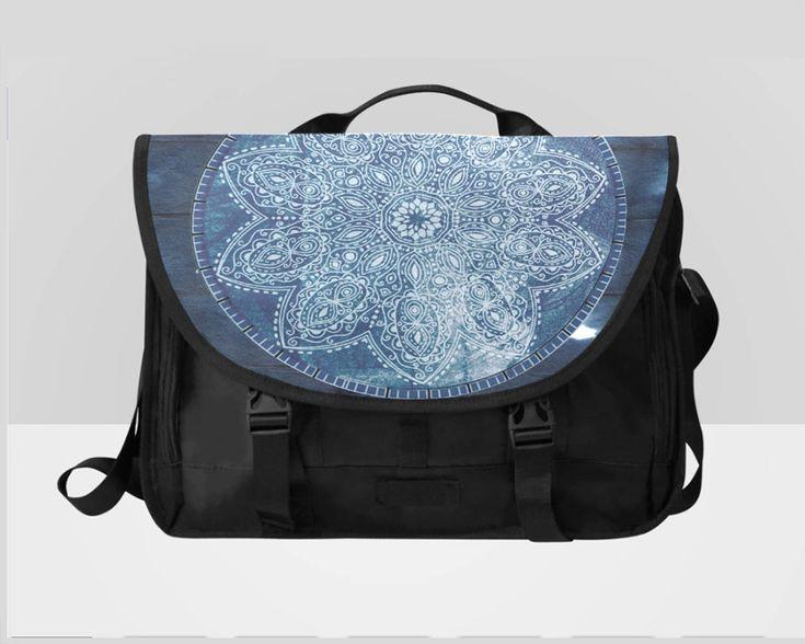 Excited to share the latest addition to my #etsy shop: Blue Mandala Laptop Messenger Bag Distressed http://etsy.me/2nno69s #bagsandpurses #messenger #blue #black #bohemianbag #mandalabag #mandaladesignbag #mandalamessenger #bluemessengerbag