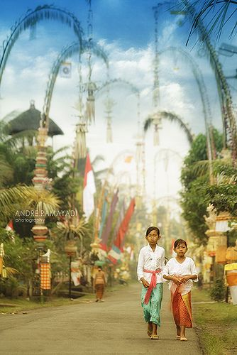 Galungan in Bali - Galungan is a Balinese holiday that occurs every 210 days and lasts for 10 days. Kuningan is the last day of the holiday. Basically, it is the celebration of good over evil.)