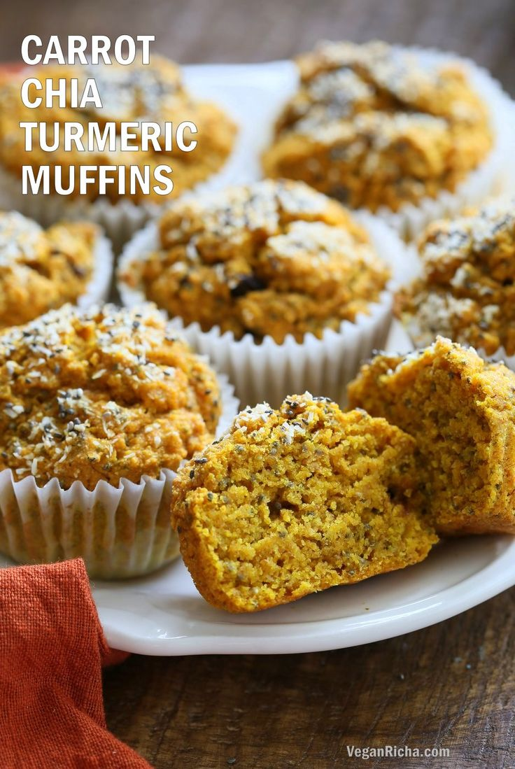 Turmeric Carrot Muffins. These sunshine muffins have carrots, dry or fresh turmeric, fresh ginger and chia seeds. Coconut rounds up the flavor for a caramelized carrot ginger turmeric profile. Add nuts or dried fruit of choice to these Turmeric muffins. No added sugar or oil needed. Vegan Soyfree Nut-free Recipe Gluten-free option| VeganRicha.com