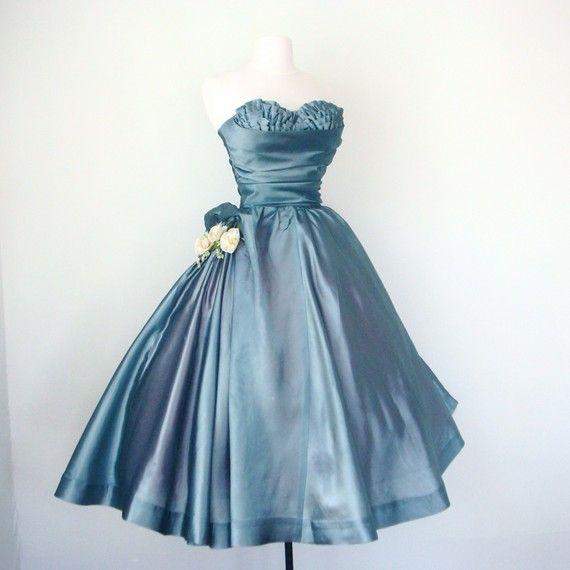 1950s shelf bust blue prom dress vintage everlasting light strapless full circle skirt for retro prom wedding formal party