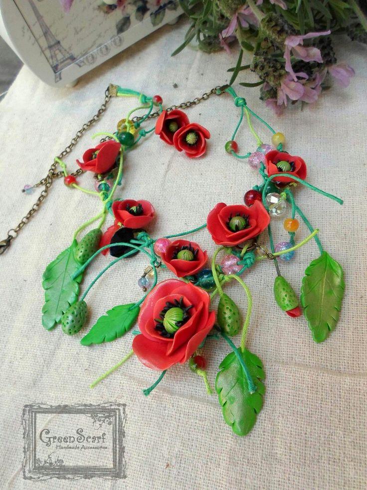 Polymer clay poppy statement  necklace