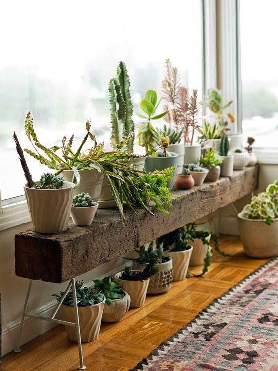 Love this railroad tie table /shelf. Great diy ide…