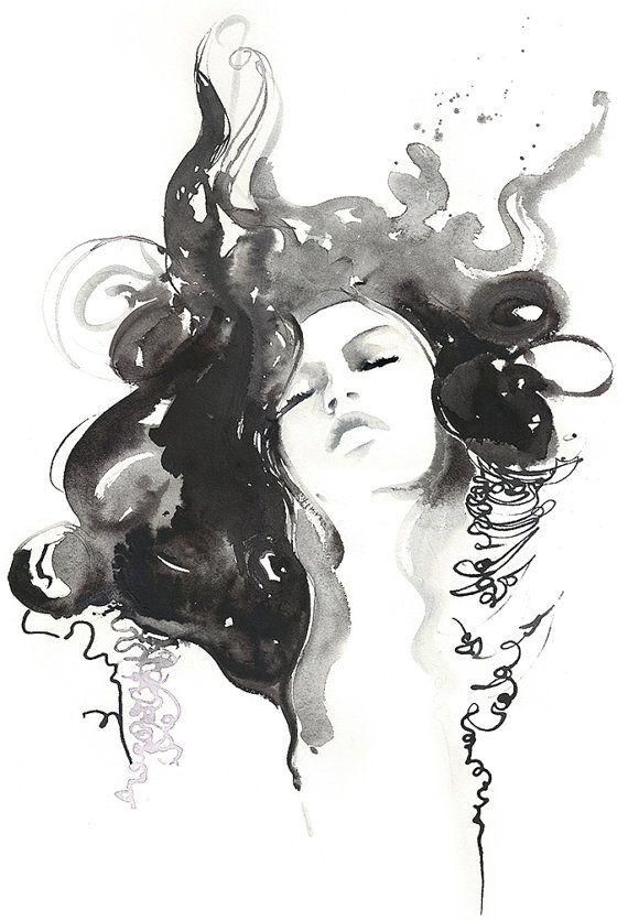 Archival Prints of Ink & Watercolor Fashion от silverridgestudio