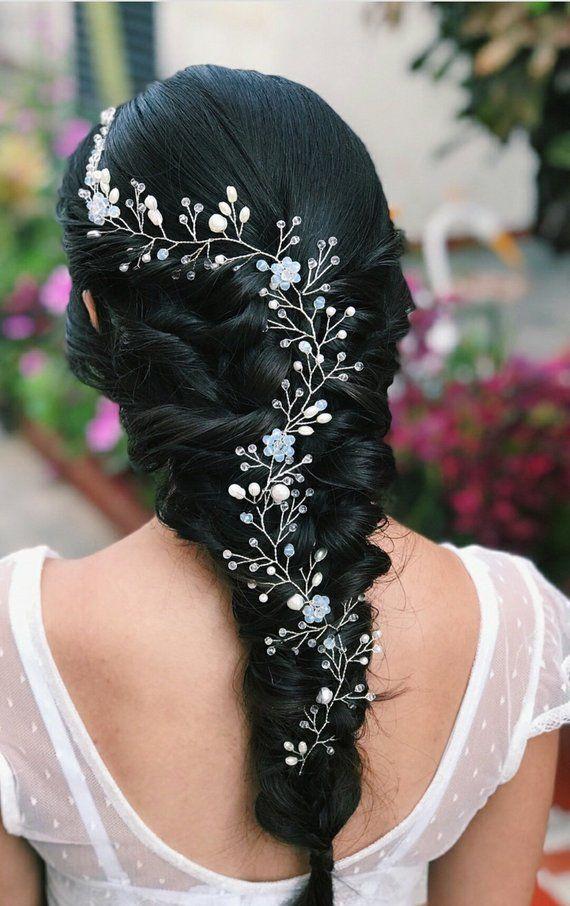 Extra Long Hair Vine Bridal Hair Vine Wedding Hairpiece Pearl Gold Hair Vine Bridal Hair Jewelry Pearl Hair Wreath Flower Hair Vine