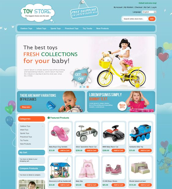 This Magento theme for kids features SEO-friendly code, speed optimization, custom product catalog, cart, checkout, and customer pages, cross-browser compatibility, multiple layout options, and more.