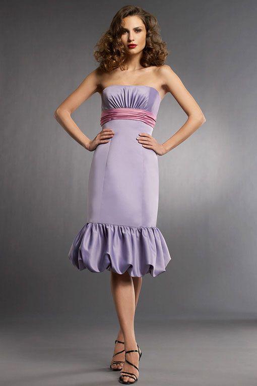 Strapless trumpet / mermaid style satin bridesmaid dress
