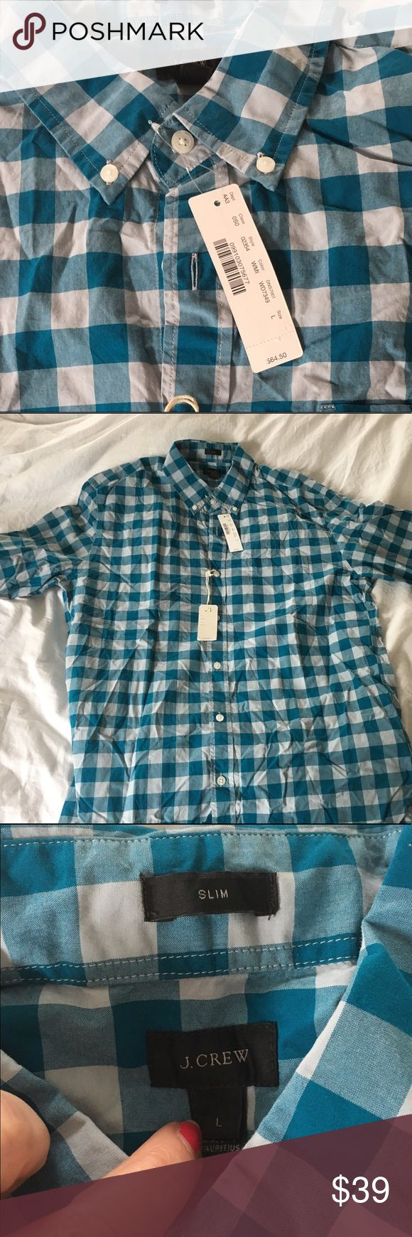 J Crew men's long sleeve button down shirt Teal blue/green checked long sleeve button down casual shirt from J Crew. Slim style size L. New with tags never worn. J Crew Shirts Casual Button Down Shirts