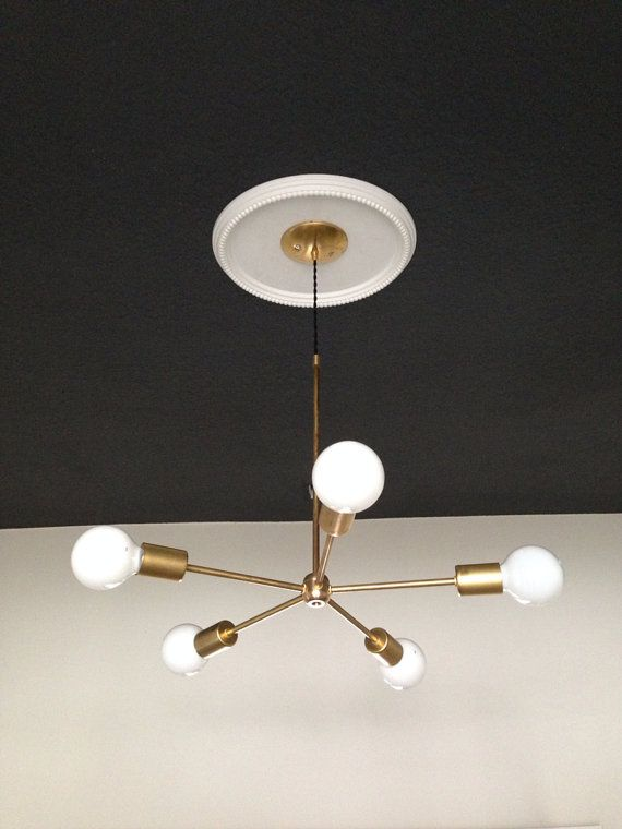 @fetechicago Brass Chandelier 5AC no. C1 Gold Brass Chandelier modern mid by triple7recycled
