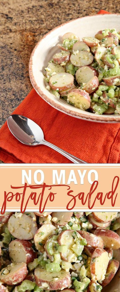 Potato Salad is a favorite summertime side... but oftentimes, it's weighed down by too much mayonnaise. This No Mayo Potato Salad is a lighter rendition of the classic, and is just as scrumptious. Red potatoes serve as the base, and they, along with hardboiled eggs, celery and green onions, are tossed in a light, flavorful dill vinaigrette. Serve at any picnic or cookout this summer and expect compliments on this surprisingly creamy potato salad.