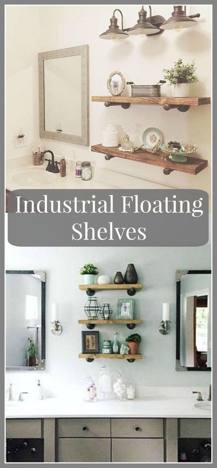 Industrial Floating Shelves, Set of 3 Bathroom Shelves, 8″ Depth Pipe Shelves, B…   – most beautiful shelves