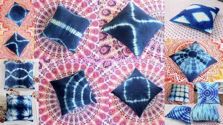 "Lot 5 Pcs Indigo Blue Tie dye Shibori Print Hand Block Printed Cotton Cushion Cover 16x16"" by ArtofPinkcity on Etsy"