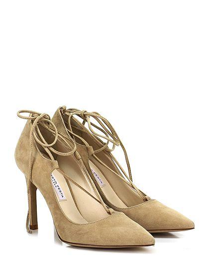 ROBERTO FESTA MILANO - Scarpa con tacco - Donna - Scarpa con tacco in camoscio con allacciatura alla gamba e suola in cuoio. Tacco 95. - CAMEL - € 205.00