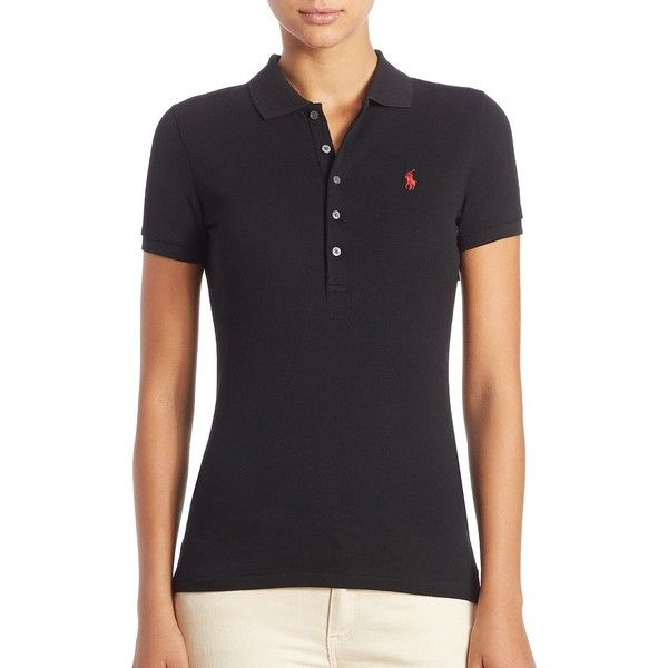 Polo Ralph Lauren Stretch-Cotton Polo Shirt ($90) ❤ liked on Polyvore featuring tops, apparel & accessories, polo black, button front top, polo ralph lauren, polo pullover, polo ralph lauren pullover and embroidered top