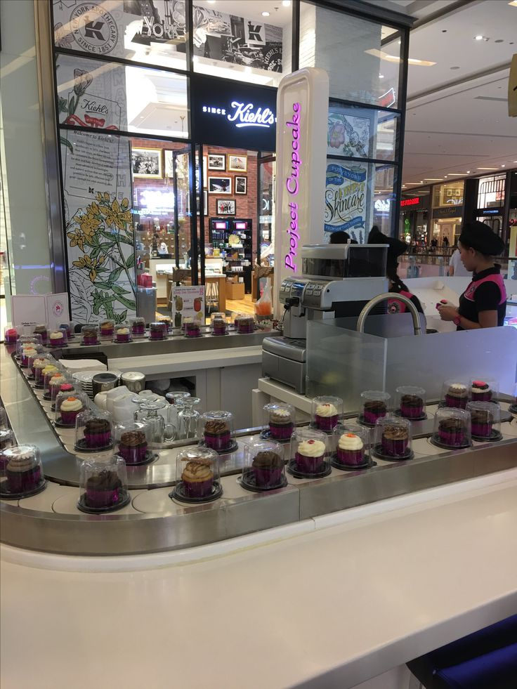 Trains of cup cakes. Dubai Marina Mall