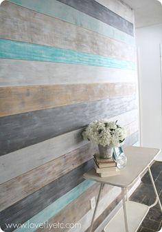DIY pared pintada tablón.  Simple y barato - la única madera que necesita es un par de hojas de madera contrachapada!