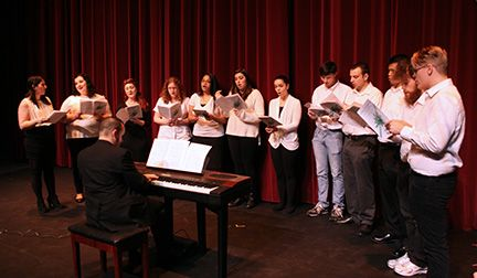 MCCC Vocal Music students during a rehersal in Keslsey Theatre, December 2014.