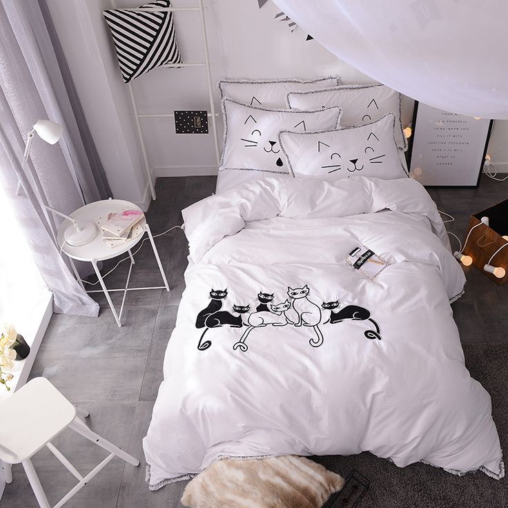 Cheap bedding set king, Buy Quality bed set directly from China cat bedding set Suppliers: 100%Cotton Duvet Cover Bed Set black white cat Bedding Sets king Bedding Set Queen Pillowcase Russia RuFamily Siz