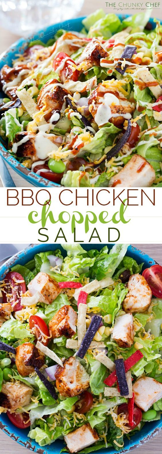 BBQ Chicken Salad | This fresh and crisp bbq chicken salad is packed with veggies, tender grilled chicken, and topped with bbq sauce and a green chile ranch dressing! | http://thechunkychef.com #SauceMaster @stubbsbbqsauce