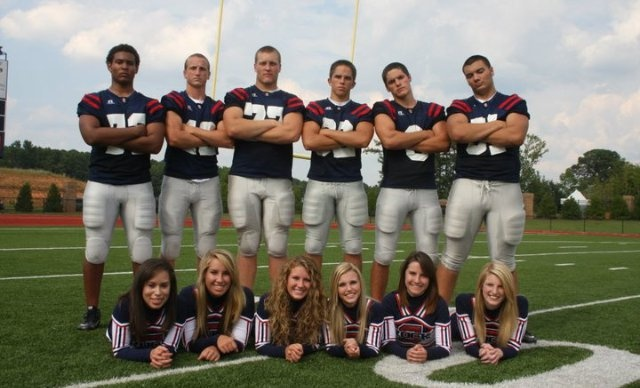 senior football cheerleaders + football players