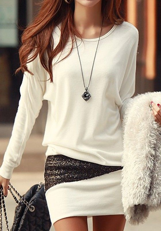 White Patchwork Sequin Long Sleeve Sexy Dress