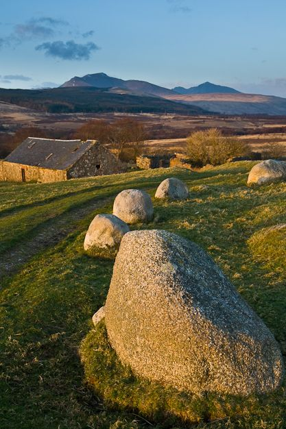 """Machrie Moor standing stones, Isle of Arran, Scotland... if you don't about the """"standing stones"""" you should do a little digging, the reason they're standing is pretty cool."""