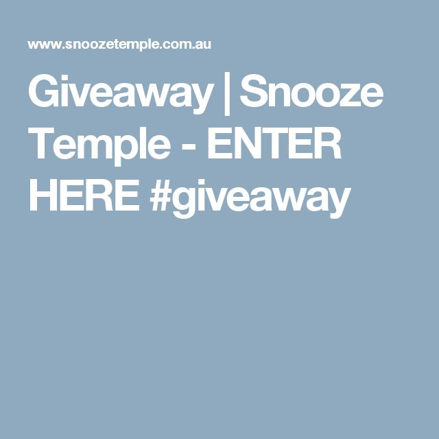 Giveaway   Snooze Temple -  ENTER HERE #giveaway