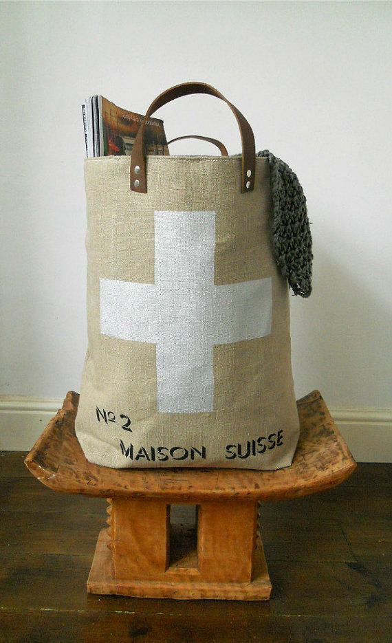 XXL Hand printed Storage bin Suisse Cross by papatotoro on Etsy, $120.00