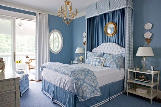 The checked canopy adds height to a tufted white headboard in this room. - Traditional Home ®/ Photo: Gordon Beall / Design: Kelley Proxmire