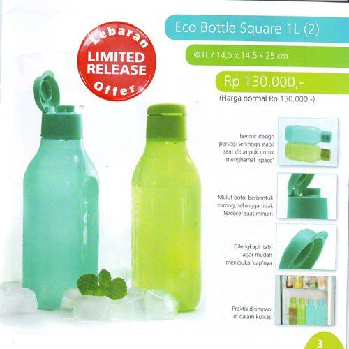 Eco Bottle Square 1L (2) Tupperware Katalog Promo Murah