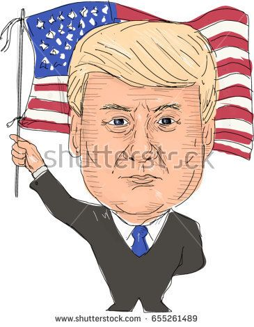 June 2, 2017: Watercolor style illustration of Donald Trump, President of the United States of America waving flag viewed from front set on isolated white background done in cartoon caricature style.   #DonaldTrump #caricature #illustration
