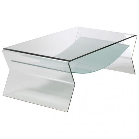 Mesa baja de centro KOMODO rectangular de diseño. Fabricada integramente de cristal curvado y templado de 12 mm. de espesor acabado transparente. Estante inferior de cristal templado y mateado de 10 mm. de espesor.