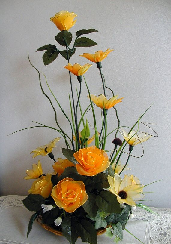 Handmade Nylon Flower Arrangement by LiYunFlora on Etsy, $45.00