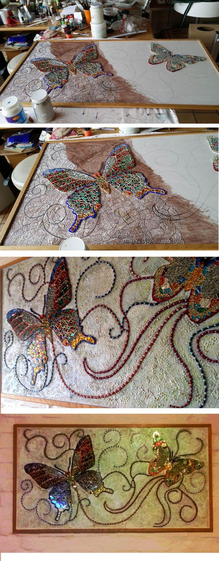 My mixed media mosaic butterflies