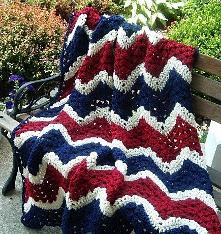 HAND CROCHETED Decorative Patriotic Afghan Throw in Red White and Blue. $52.00, via Etsy.