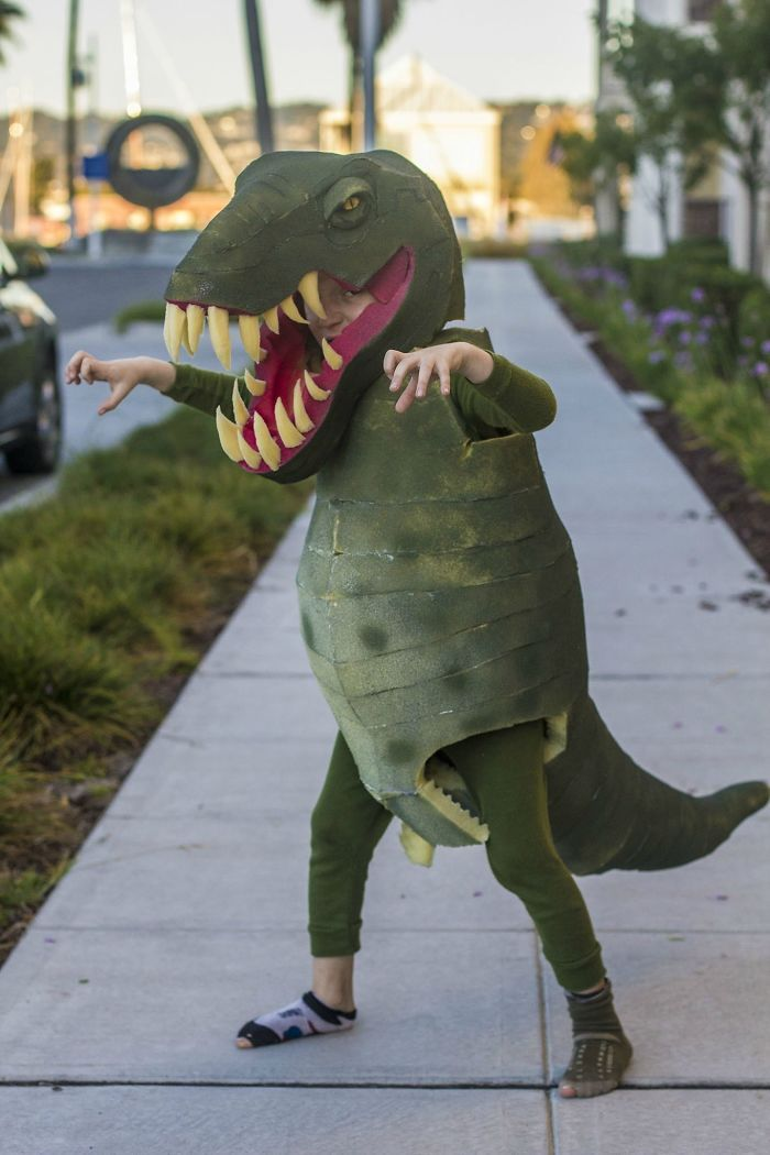 Here Is A Tyrannosaurus Costume I Made For My Son, From Mattress Foam And Spray Paint