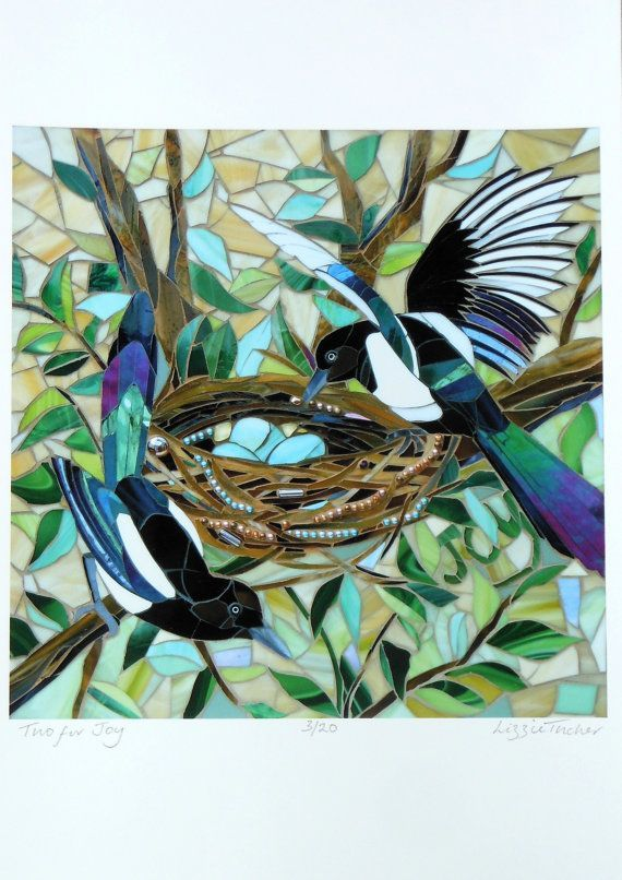Magpie Print - Two For Joy - Limited Edition Giclee Print - Mosaic Art