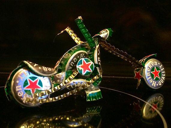 Heineken Beer Bottle Cap Chopper / Motorcycle by Craftcapcreations