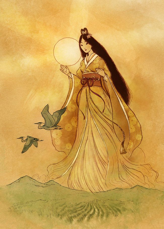 """Amaterasu, Shinto Sun Goddess""; Art Print Legend in; ""The GODDESS / Psychology of Female Power"" http://thesisterhoodpsychology.weebly.com/"