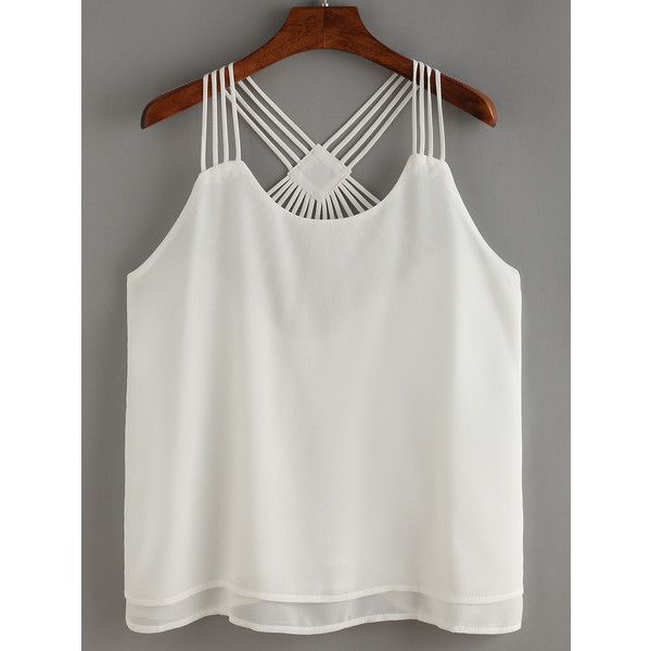 Hollow Out Layers Chiffon Cami Top ($11) ❤ liked on Polyvore featuring tops, white, white spaghetti strap tank top, camisole tank tops, layering tanks, white chiffon top and chiffon cami