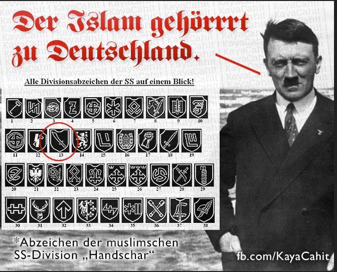 """Es stimmt tatsächlich - naja zumindest aus der Sicht des Nationsozialismus - der Islam gehört zu Deutschland. Siehe Abzeichen der muslimischen SS-Division """"Handschar"""""""