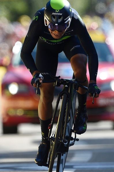 #TDF2016 Colombia's Nairo Quintana crosses the finish line of the 375 km individual timetrial the thirteenth stage of the 103rd edition of the Tour de France...