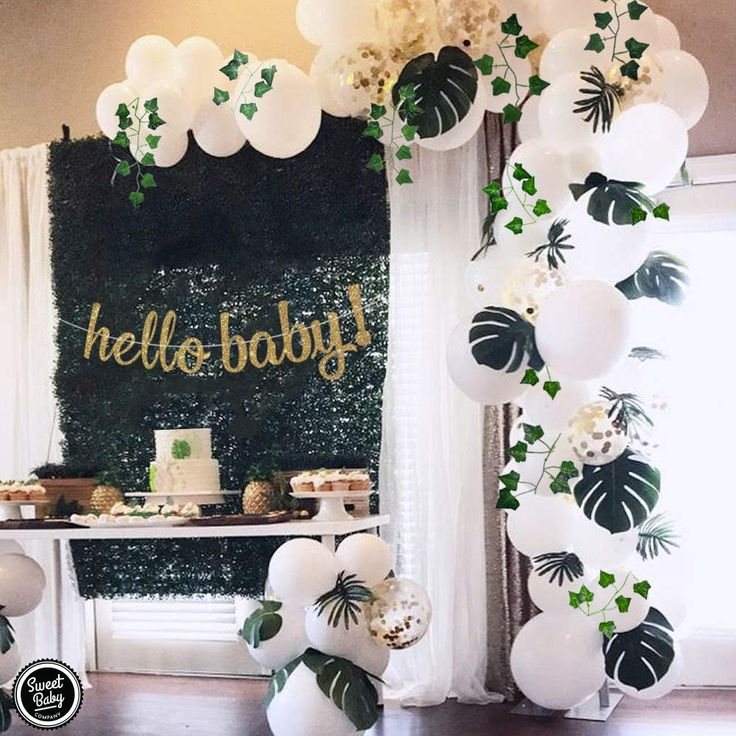 Boho Fake Greenery Baby Shower Decorations Neutral with