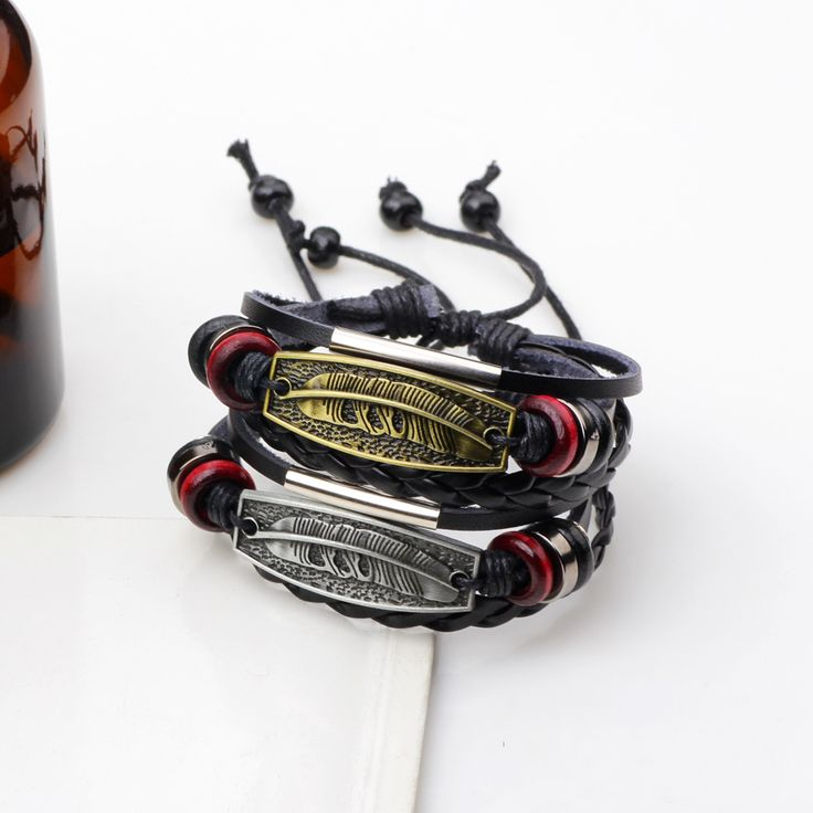 Fashion Men Genuine Leather Bracelet Wholesale Feather Charms Bracelets &Bangles Black Leather Bracelets Free Shipping gift