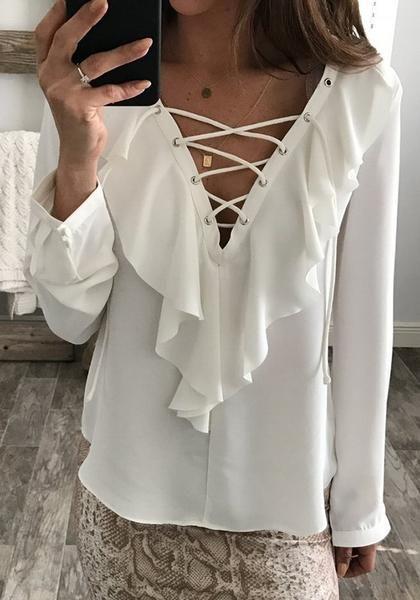 d6e3ba1d3b26 White Plain Wavy Edge Plunging Neckline Fashion Chiffon Blouse ...