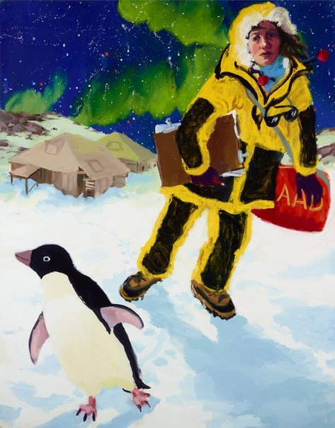 Wendy Sharpe: Self-portrait in Antarctica with penguin and Mawson's huts :: Archibald Prize 2012 :: :: Art Gallery NSW