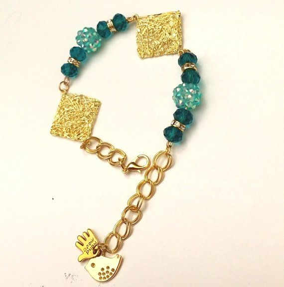 square gold color aqua scarab double linked bracelet / aqua chamballa gold color double linked bracelet