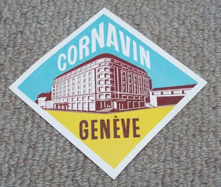 Cornavin Hotel - Geneva - Vintage Hotel Luggage Label